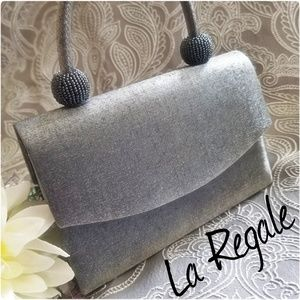 🏙Silver Evening Bag with Beaded Accent, La Regale